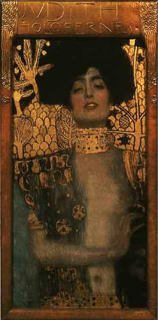 "Gustav Klimt, ""Judith with the Head of Holofernes,"" 1901, oil on canvas, 84 × 42 cm, Austrian Gallery, Vienna, Austria"