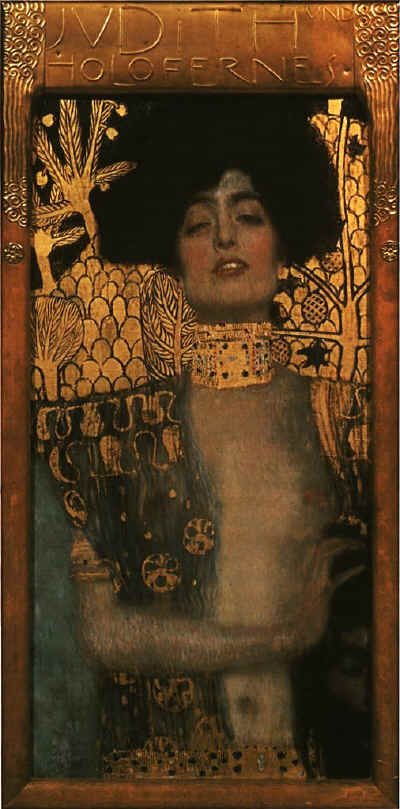 "Gustav Klimt, ""Judith with the Head of Holofernes,"" 1901, oil on canvas, 84 × 42 cm, Austrian Gallery, Vienna, Austria"