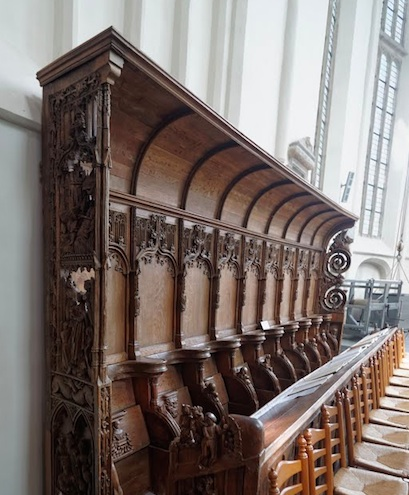 Bolsward, Martinikerk, Choir View NE on Gothic Choirbenches detail 1490