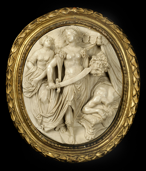 Oval alabaster relief