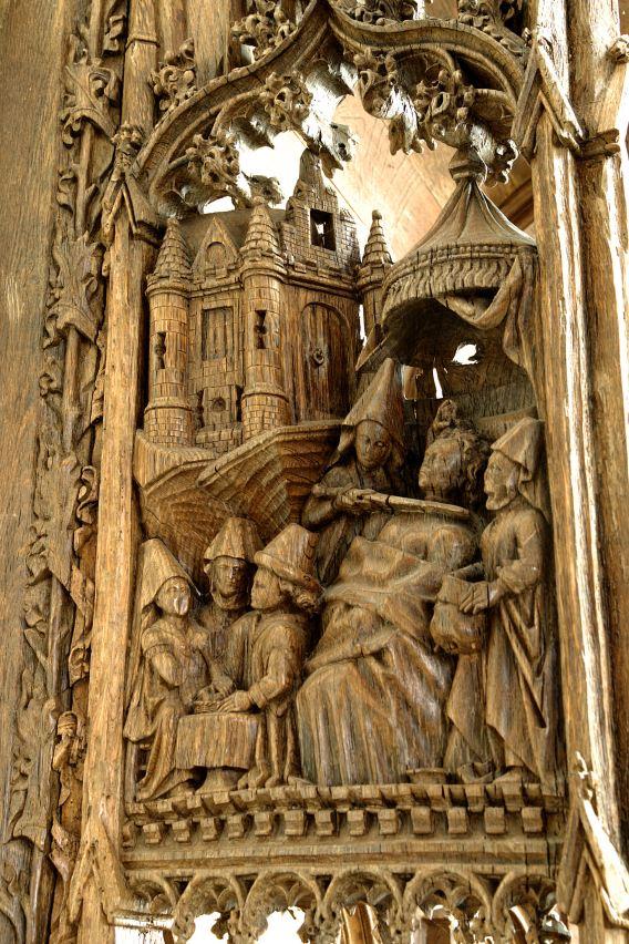 Judith (1450) Martinikerk, stalls, north side, bench end 2