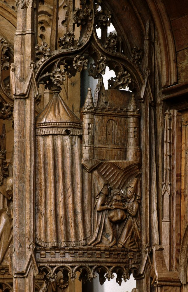 Judith (1450) Martinikerk, stalls, north side, bench end - back 2