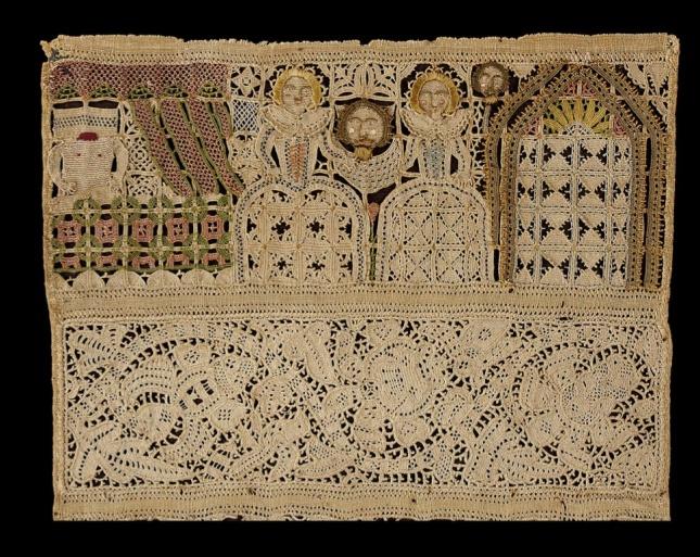 Judith (1600s mid) Band sampler - detail