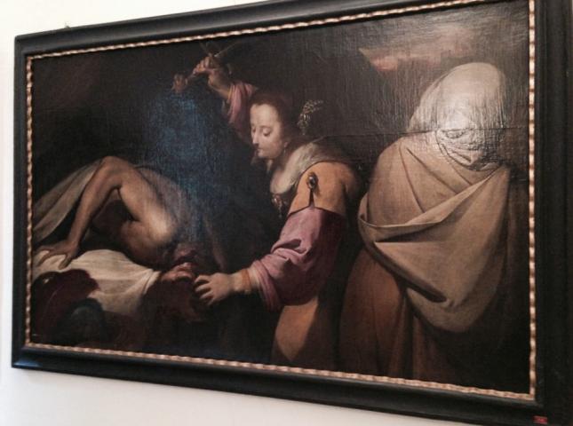 """Bernardino Fusari, """"Judith and Holofernes,"""" 17th century, Oil on canvas, 118 x189 cm, Accademia di Belle Arti Tadini, Lovere, Italy"""