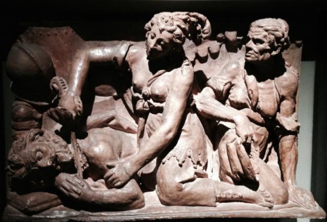 "Gaspare Vismara , ""Judith and Holofernes"" model for over-door panel, 1629, terracotta, Museo del Duomo, Milan, Italy"