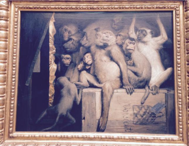 """Gabriel von Max (1840-1915), """"Monkeys as Judges of Art,"""" 1889"""